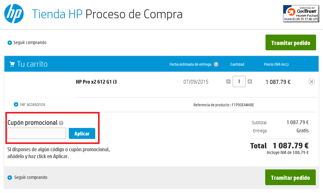 Descuento Cupón Descuento HP Store