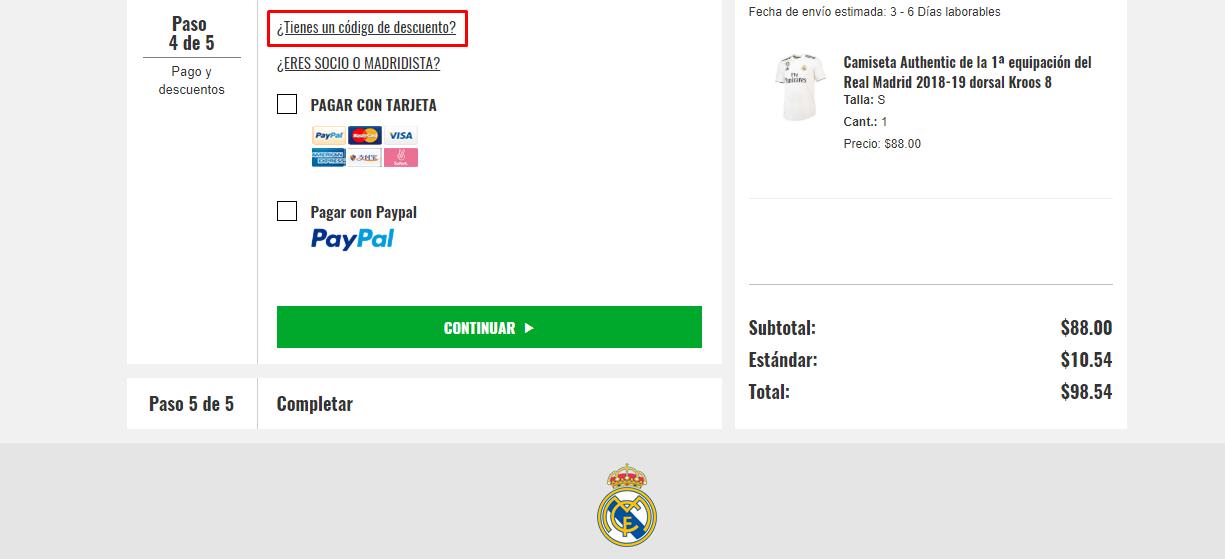 Descuento Código Descuento Real Madrid Tienda Oficial Online