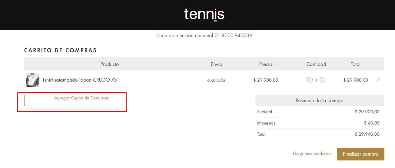 Descuento Cupón Descuento Tennis