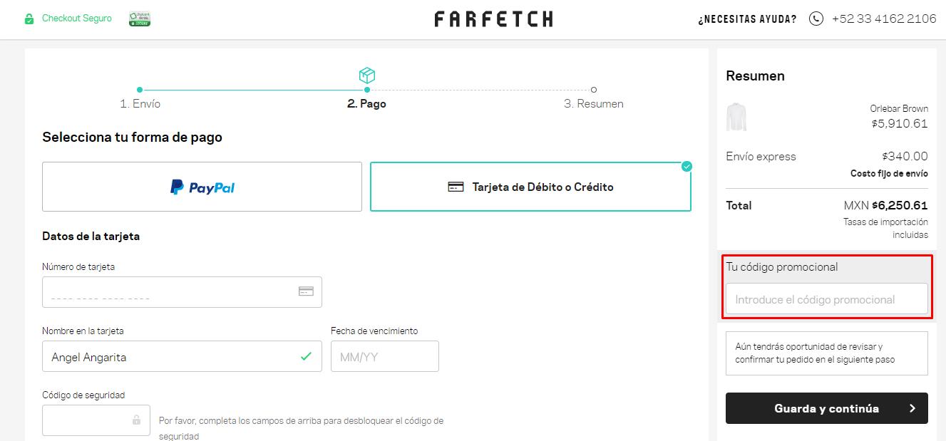 Descuento Código Promocional Farfetch